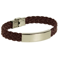 Narrow Woven Leather Bracelet Brown
