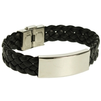 Wide Woven Leather Bracelet Black