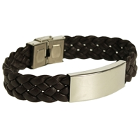Wide Woven Leather Bracelet Brown