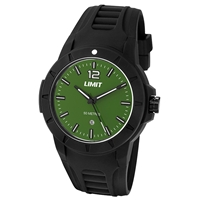 Limit Watch - Gents Sport Watch Black With Green Face