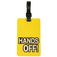 Birch Luggage Tag Yellow HANDS OFF!