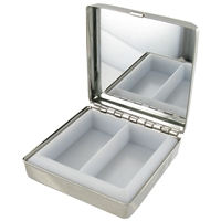 Square Pill Box With Mirror Stainless Steel 5cm