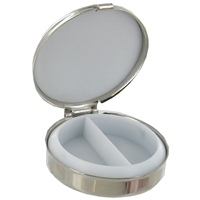 Round Pill Box With Mirror Stainless Steel 5cm