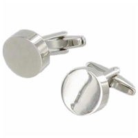 Cufflinks Plain Round Faux Leather Box