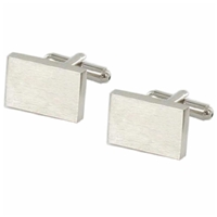 Cufflinks Plain Rectangular Brushed Chrome
