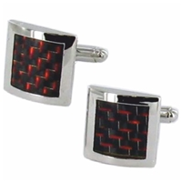 Cufflinks Square Red And Black Lizard