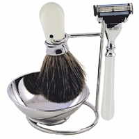 White 3 Piece Shaving Set On Stand Includes Badger Brush,