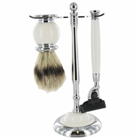 White 2 Piece Shaving Set On Stand Includes Synthetic
