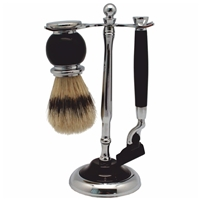 Black 2 Piece Shaving Set On Stand Includes Synthetic