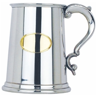 Oval Brass Plate Straight One Pint Pewter Tankard