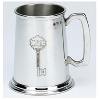 21st Birthday Key Design.Plain Handle.One Pint Pewter Tankard