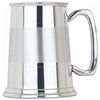 Satin Band Straight One Pint Pewter Tankard