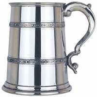 Celtic Double Banded One Pint Pewter Tankard