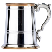 Double Brass Band Straight One Pint Pewter Tankard
