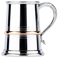 Single Brass Band Straight One Pint Pewter Tankard