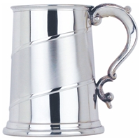 Curved Satin Band Straight One Pint Pewter Tankard