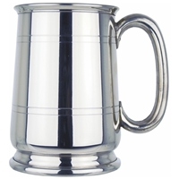 Cavalier Style One Pint Pewter Tankard