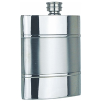 Satin Band 6oz Pewter Hip Flask
