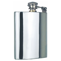 Captive Top Straight 6oz Pewter Hip Flask