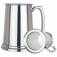 Glass Based Straight One Pint Pewter Tankard