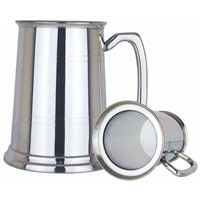Glass Based Two Line One Pint Pewter Tankard