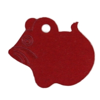 Aluminium Mouse Pet Tag 26mm Red