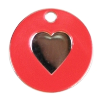 Enamel Heart Pet Tag 25mm Red