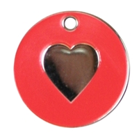 Enamel Heart Pet Tag 20mm Red