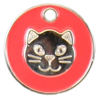 Enamel Cat Pet Tag 20mm Red