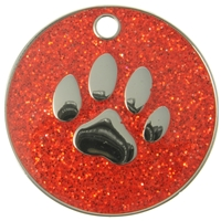 Glitter Paw Pet Tag 25mm Red