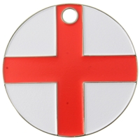 Nickel Plated Round Pet Tag 25mm England Flag