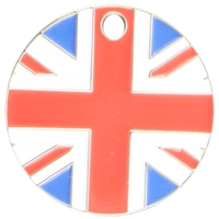 Nickel Plated Round Pet Tag 25mm Union Flag