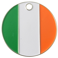 Nickel Plated Round Pet Tag 25mm Ireland Flag