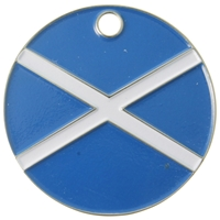 Nickel Plated Round Pet Tag 25mm Scotland Flag