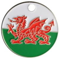 Nickel Plated Round Pet Tag 25mm Wales Flag