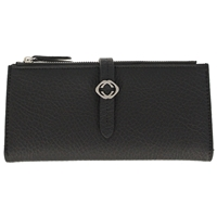 Faux Leather Grained Tabbed Large Folding Purse Black