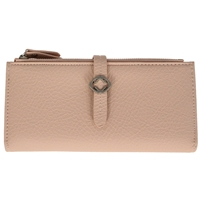 Faux Leather Grained Tabbed Large Folding Purse Dusky Pink