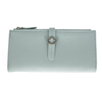 Faux Leather Grained Tabbed Large Folding Purse Light Blue