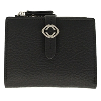 Faux Leather Grained Tabbed Small  Folding Purse Black