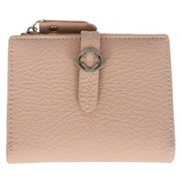 Faux Leather Grained Tabbed Small  Folding Purse Dusky Pink