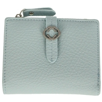 Faux Leather Grained Tabbed Small Folding Purse Light Blue