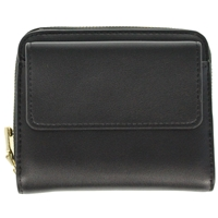 Faux Leather Folding Zip Round Purse Black