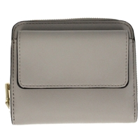 Faux Leather Folding Zip Round Purse Grey