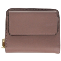 Faux Leather Folding Zip Round Purse Mauve