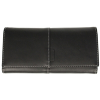Faux Leather Large Fold Over Purse Black