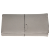 Faux Leather Large Fold Over Purse Grey