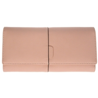 Faux Leather Large Fold Over Purse Pink