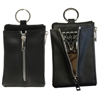 Faux Leather Light Grained Coin Purse with Key Case Black