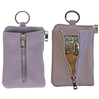 Faux Leather Light Grained Coin Purse with Key Case Lilac