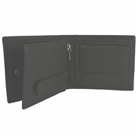 Cow Nappa Wallet With Coin Pocket Black